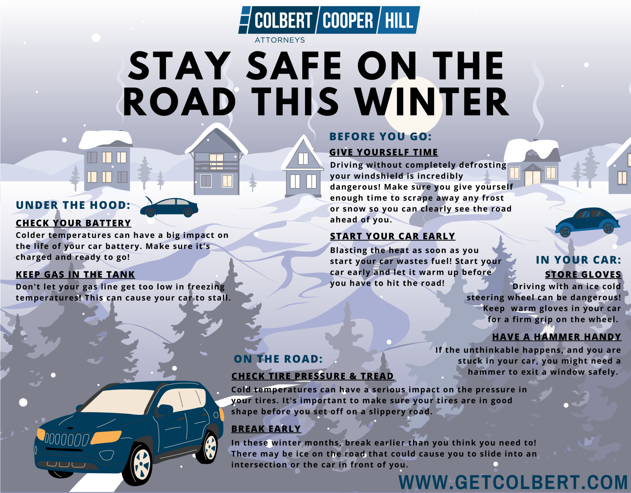 Oklahoma City winter driving tips infographic