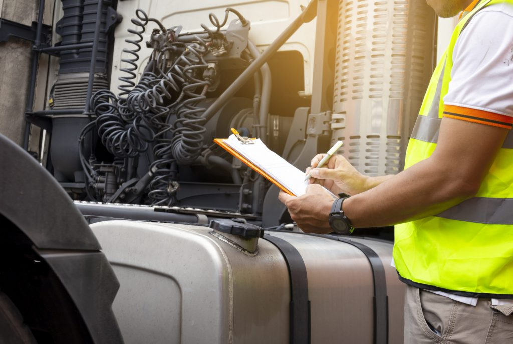 truck inspection checklist being completed
