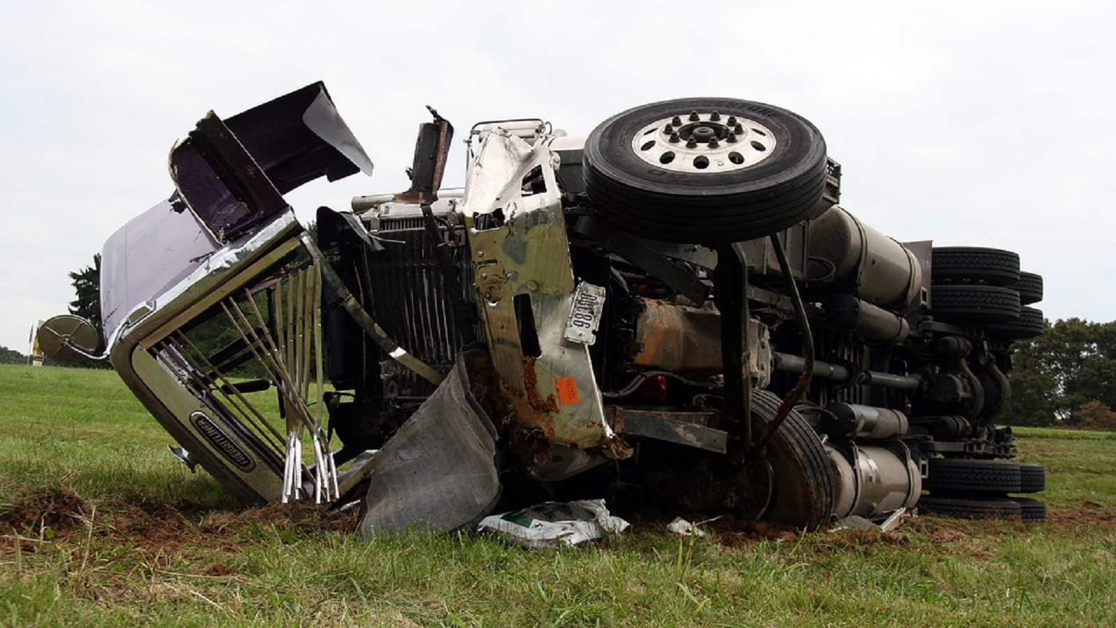 Truck Accident On Side Of Road Stock Photo